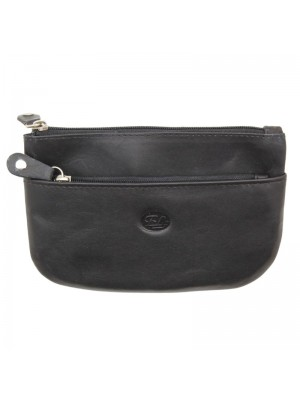 Wholesale Ladies Black Genuine Leather Coin Purse with 2 Zips