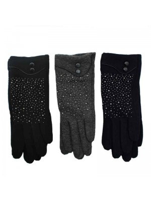 Ladies Gloves with Diamante design - Assorted colours