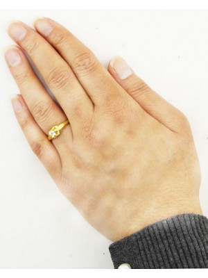 Gold Coloured Ring With Silver Diamante