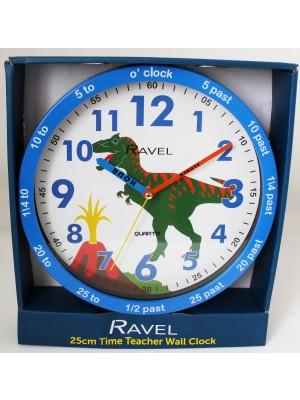 Wholesale Ravel Children's Dinosaur 25cm Time Teacher Quartz Wall Clock - Blue