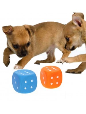 Squeaky Dog Dice Toy - Assorted Colours