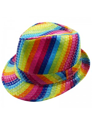 Wholesale Disco Theme Rainbow Print Trilby Hat