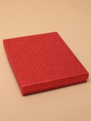 Red glitter gift box 18x14x3cm