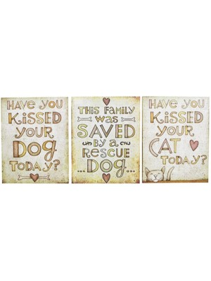 Dog/Cat Hanging Wall Plaque With Hanging Tag - Assorted
