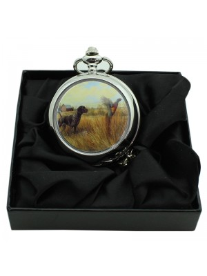 Dog and Bird Pocket Watch with Chain - Silver