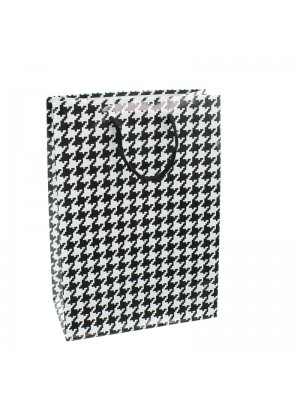 Dog Tooth Design Gift Bags - 14 x 20 x 7cm