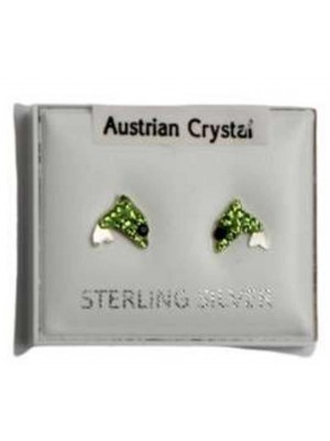Wholesale Sterling Silver Austrian Crystal Dolphin Studs 6mm - Green