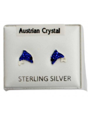 Sterling Silver Austrian Crystal Dolphin Studs 7 mm - Navy