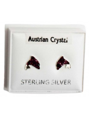 Wholesale Sterling Silver Austrian Crystal Dolphin Studs 6mm - Purple