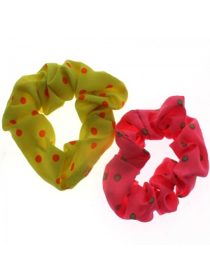 Dotted Neon Satin Scrunchies - Assorted Colours
