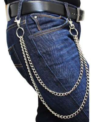 Double Metal Chain Lightweight Silver With Double Hooks(B)