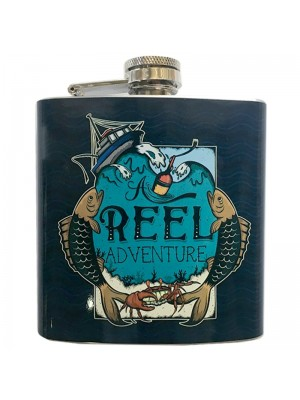 Handy Stainless Steel 6oz Hip Flask - Fishing Design