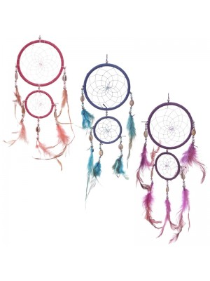 Dreamcatcher With Mini Catcher, Shells & Feathers - Assorted Colours