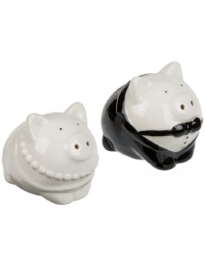 Dressed Up Pigs Salt and Pepper Porcelain Cruet Set