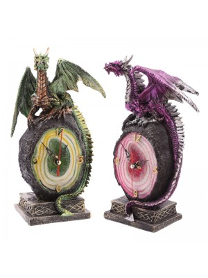 Geode Crystal Dragon Clock - Assorted Colours