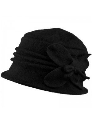 Wholesale Womens Wool Vintage Cloche Hat - Black