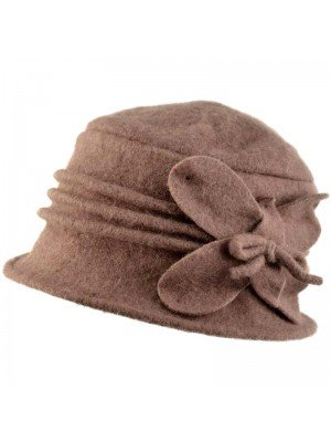 Wholesale Womens Wool Vintage Cloche Hat - Dark Brown
