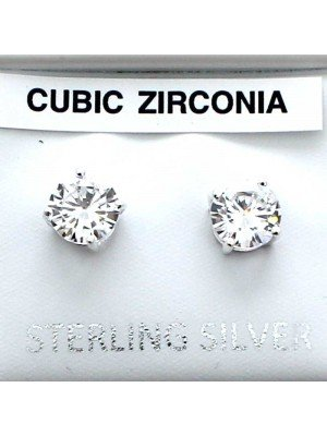 Wholesale Sterling Silver Round CZ Stud-6mm