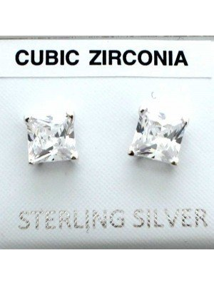 Wholesale Sterling Silver Square CZ Studs-6mm