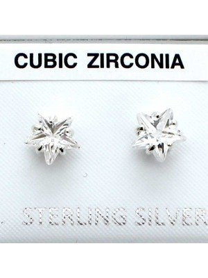 Wholesale Sterling Silver Star Shaped CZ Stud-7mm