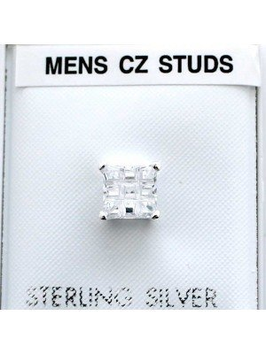 Wholesale Sterling Silver Square CZ Table Stud-Clear(6mm)