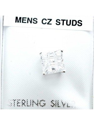 Wholesale Sterling Silver Men's Table CZ Studs-Clear(7mm)
