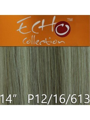Echo 14'' Long Human Hair Weave Extensions - Colour No. P12/16/613