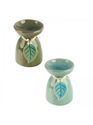 Eden Tropical Leaf Ceramic Oil Burner - Assorted Colours