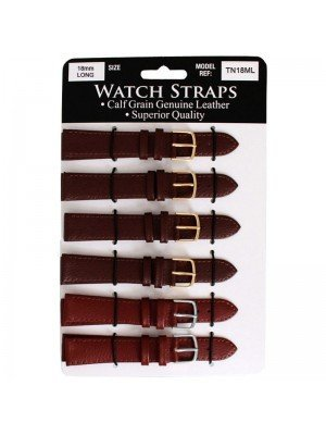 Calf Grain Brown Long Watch Straps - Assorted Buckles -18mm