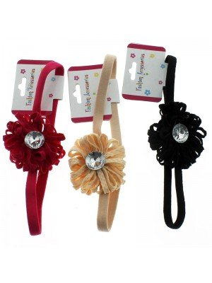 Elastic Headbands With Flower - Assorted Colours