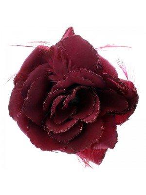 Rose Flower with Elastic & Clip - Burgundy