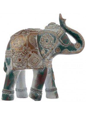 Wholesale Thai Brushed Gold and White Verdigris Elephant-ELE19/Large