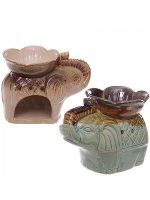 Elephant Design Ceramic Oil Burner With  Flower Design Bowl - Assorted Colours