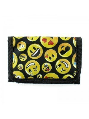Emoji Print Wallet With Velcro Strap
