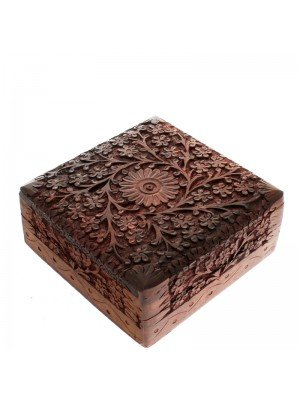 Carved Square Wooden Box- Flowers Design 15.5x15.5x6.5cm