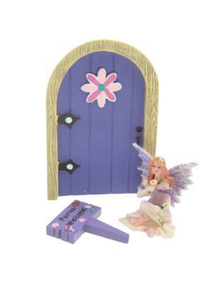 Ethereal Realm Fairies Welcome Sign Door and Figurine - Purple