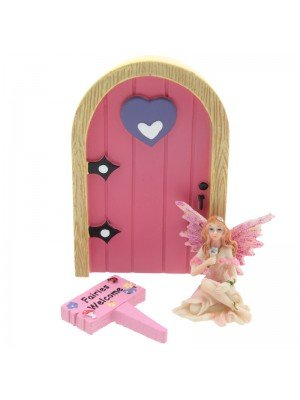 Ethereal Realm Fairies Welcome Sign Door and Figurine- Pink