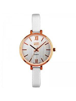 Wholesale Eton Ladies Faux Slim Strap Watch - White/R.Gold