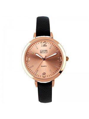 Wholesale Eton Ladies Faux Strap Watch - Black/Rose Gold