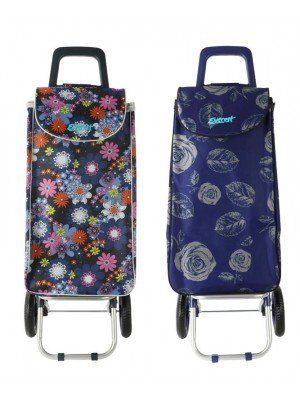Wholesale Everest Two Wheel Floral Design Shopping Trolley - Assorted Colours