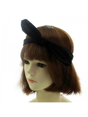 Wholesale Fabric Bandeux with Elasticated Back and Wired Bow - Black