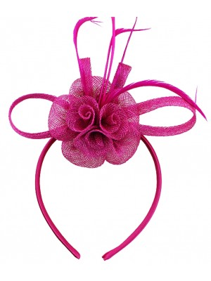 Wholesale Fascinator On Alice band Flower Design - Fuchsia