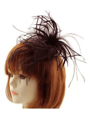 Wholesale Fascinator on Alice band with Feathers - Brown