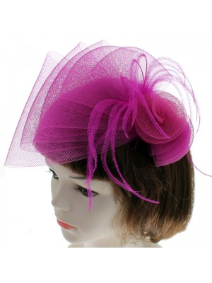 Fascinator with Net and Flower on Clip - Pink