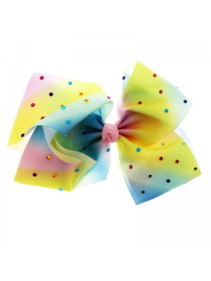 Fashion Bows On Clip - Rainbow Pastel (Sequin Design)
