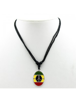 Fashion Nylon Necklace - Rasta Coloured Pendant & Peace Logo