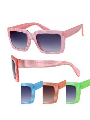 Fashion Sunglasses - Stripy Frame (Assorted Colours)