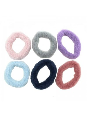 Faux Fur Hair Bands Assorted Colours - 6 Pieces