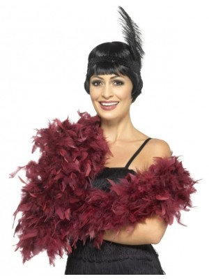Feather Boa Deluxe 180cm Long - Burgundy