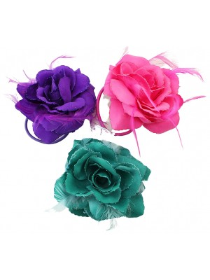 Wholesale Feather Flowers With Elastic - Dark Assortment